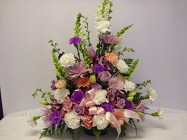 PASTEL Trad. Funeral Arr. from Beck's Flower Shop & Gardens, in Jackson, Michigan