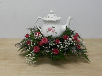 Teapot Arrangement from Beck's Flower Shop & Gardens, in Jackson, Michigan