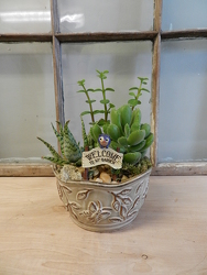 Succulent Garden with Small Sign from Beck's Flower Shop & Gardens, in Jackson, Michigan