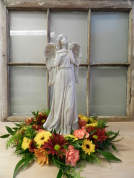 Angel with Wreath from Beck's Flower Shop & Gardens, in Jackson, Michigan