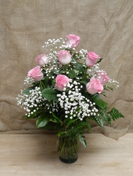 Vased Pink Roses from Beck's Flower Shop & Gardens, in Jackson, Michigan