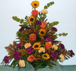 Traditional Funeral Arrangement in Fall Colors from Beck's Flower Shop & Gardens, in Jackson, Michigan