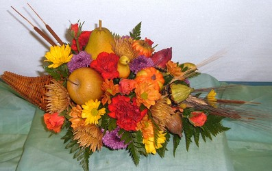 Harvest Cornucopia from Beck's Flower Shop & Gardens, in Jackson, Michigan