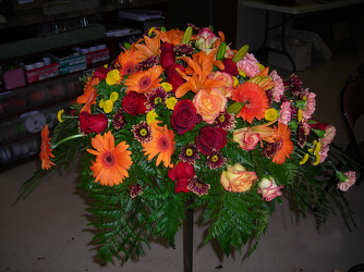 Orange Lily and Gerbera Daisy Spray from Beck's Flower Shop & Gardens, in Jackson, Michigan