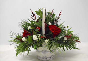 Small Christmas Basket from Beck's Flower Shop & Gardens, in Jackson, Michigan