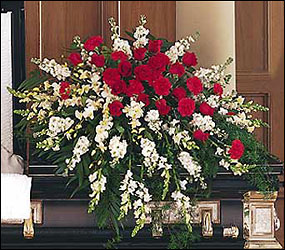 Cherished Moments Casket Spray from Beck's Flower Shop & Gardens, in Jackson, Michigan