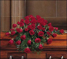 Blooming Red Roses Casket Spray from Beck's Flower Shop & Gardens, in Jackson, Michigan