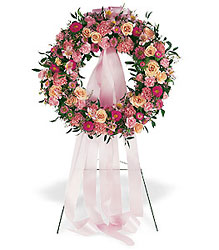 Respectful Pink Wreath from Beck's Flower Shop & Gardens, in Jackson, Michigan